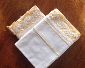 Vintage Pillow Cases - White Standard Size Pillow Cases with Lovely Crocheted Lace Trim