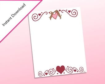 Dog Stationary Printable, Classroom Valentine's Day Cards, Valentine's Classroom Party, Printable Stationary for Valentine's Day