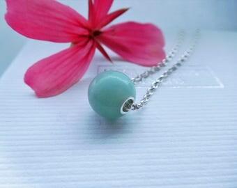 Blue Amazonite Pendant Necklace, Blue and Silver Pendant, Beaded Necklace, Blue/Green Bead Necklace, Blue Pendant, Floating Bead Necklace