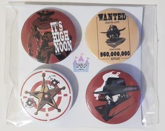 Overwatch McCree buttons/pins/badges 4pcs set