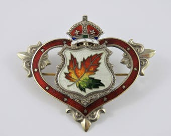 Sterling Silver Enameled Maple Leaf Brooch