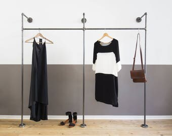 Steel pipe Open wardrobe-clothing rack-coat stand-clothes rack-clothing rail-2x-duo high-black galvanized