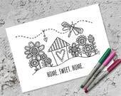 Home Sweet Home Colouring Page | Instant Digital Download | Original Doodle Design