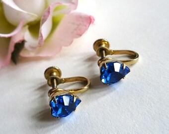 Blue Heart Earrings, Faceted Galss Stones, Valentine, Screw Back, Something Blue, Wedding