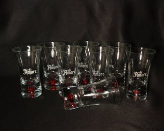 Di Amore Red Bubble Bottom Fluted Shot Glasses, Set of 8