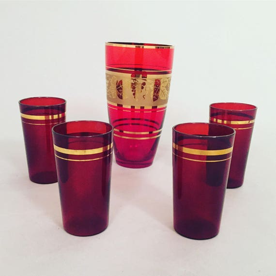 Mid-Century Red Glass Vase + 4 High Glass with gold detail