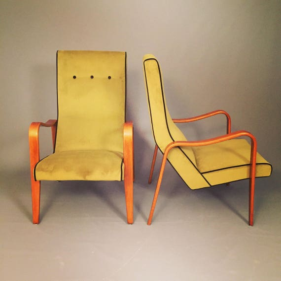 Mid-Century high back Thonet Bentwood lounge chairs