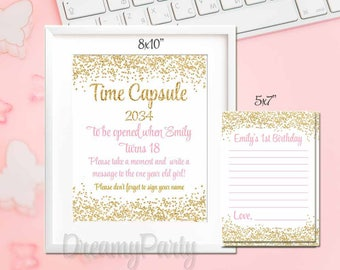 Time Capsule First Birthday Sign and Cards, Pink and Gold Time Capsule, Sparkle Time Capsule, Baby Shower Sign Wishes for Baby, Printable.