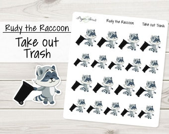 Take out Trash | Rudy the Raccoon | Planner Stickers