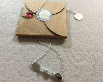 Collier tourmaline, amazonite, quartz fumé et argent