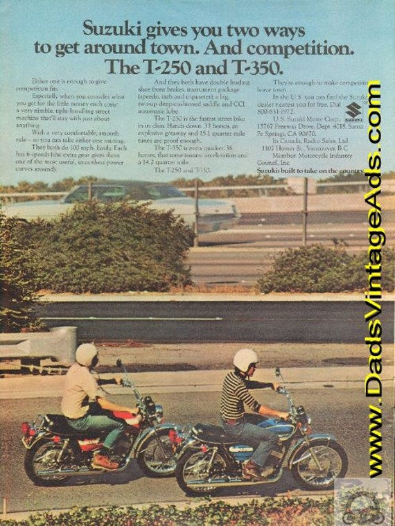 1972 Suzuki T-250 and T-350 -enough to make competition leave town Vintage Ad #e72ga15