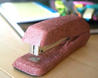 Copper Rose Pink Glitter Stapler, Office Supplies, Glitter Office Supplies, Decorative Stapler, Stapler, Pink Classroom, Classroom Supplies