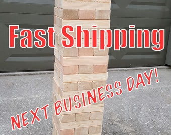 "Giant Jenga inspired - Texan Towers - w/ optional carrying tote - 54 pieces - FAST SHIPPING 7.5"" sanded and planed pieces for smooth play!"