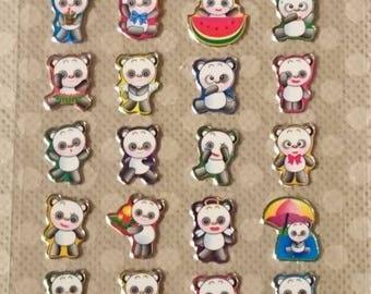 MINI Planner Panda Sticker Sheet/ gel stickers, kawaii, 1 large sticker+ assorted  mini pandas/ scrapbook, planner stickers