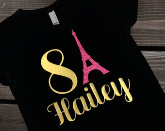 Girls Paris Shirt | Eiffel Tower Shirt | Paris Birthday | Paris Outfit | Paris Girls Clothing | Paris Theme Birthday | Girls Gift Idea