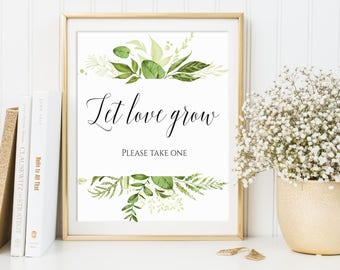 Let Love Grow, Wedding Favor Sign, Please Take One, Seed Favor Sign, Succulent Favor Sign, Favors Please Take One, Greenery Wedding Decor
