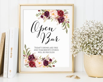 Open Bar Sign, Tonight's Drinks Are Free, Open Bar Wedding Sign, Wedding Drinks Sign, Wedding Alcohol Sign, Printable Open Bar Sign, Marsala