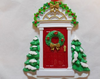 First Home Door with Wreath Personalized Christmas Ornament