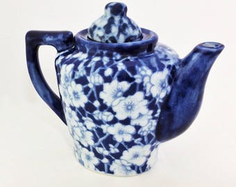 Miniature Blue and White Ceramic Teapot with Open-Faced Flowers; Vintage Tea Pot