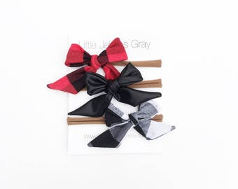 Sailor bows, plaid, faux leather, mini bow