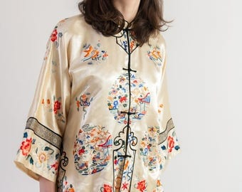 1930s silk chinese blouse antique chinoiserie RARE art deco