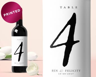 PRINTED Wine Bottle Table Numbers, Custom Wine Label, Wine Table Number Label, Wine Bottle Number, Bottle Label, Wedding Wine Bottle