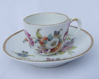 Antique Adolph Hamann Dresden Porcelain Demitasse Coffee Cup & Saucer - Circa 1890 Fine German Porcelain Hand Painted Flower Blooms