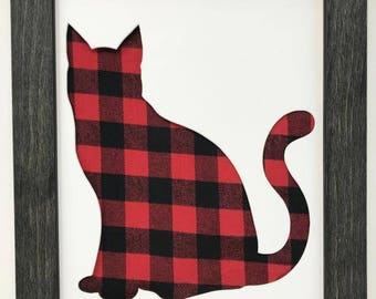 "11x14 1.75"" Rustic Black Frame with Cat and Buffalo Plaid"