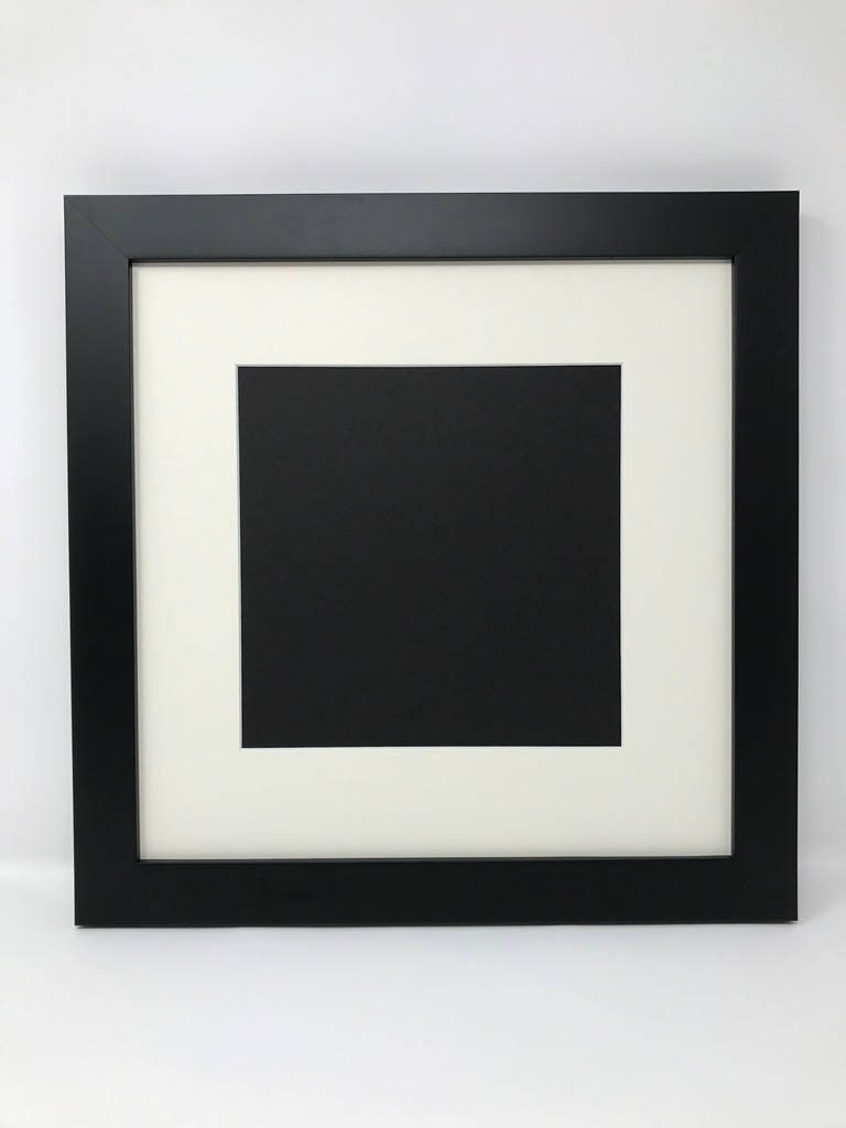 16x16 1 25 Black Solid Wood Picture Frame With Cream Mat