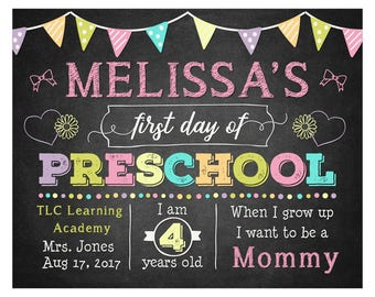 Girl First Day of Preschool Sign - 1st Day of School Printable - First Day of School Sign - Photo Prop- Chalkboard Sign - Digital or Printed