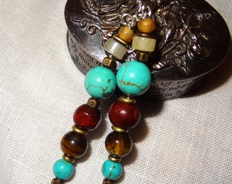 Nepal earrings turquoise and Tiger eye