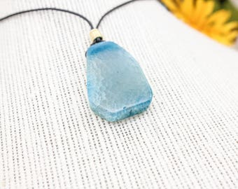LIGHT BLUE AGATE Leather Cord Necklace - Black Leather Cord - 26 inch Adjustable Necklace - Gift