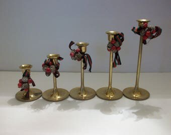 Brass Candle Holders with Christmas Decor, Five Brass Candle Holders, Christmas Decor, Christmas, Brass, Candle Holders