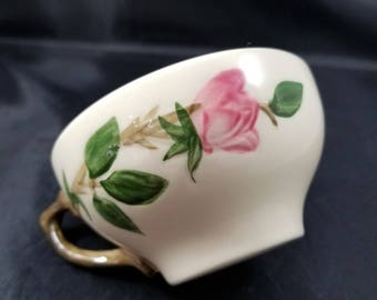 1941 Franciscan Desert Rose Teacup.  Hand Painted Franciscan Earthenware Teacup.