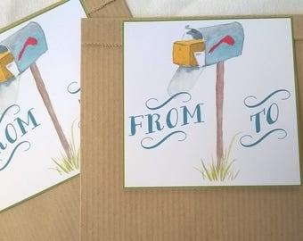 21 x 12, 2 kraft gift bags tags mailbox