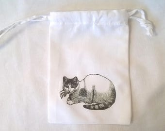 The black and white cat fabric purse