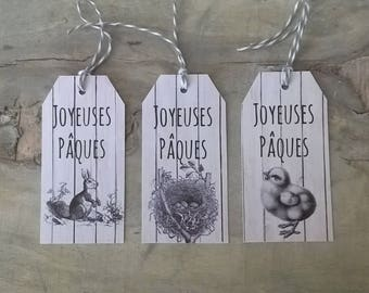 6 labels Easter, black and white, wooden background