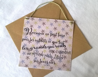 "Great holiday card, card hanging quote ""grandparents"" background stars envelope choice"