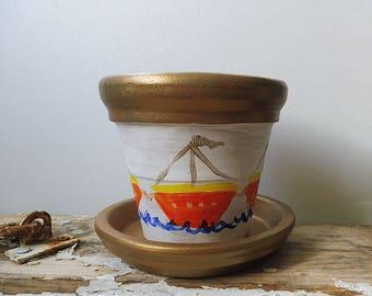 Painted Clay Pot, Boats Clay Pots, Terracotta Pot, Clay Flowers Holder, Garden Clay pot, Summer Pottery, Small Clay Pot, Nautical Clay Pot