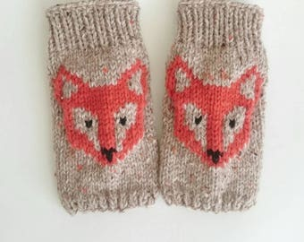 Fox Gloves - Mittens, Wrist Warmers, Gift Ideas, For Her,Tweed Winter Accessories
