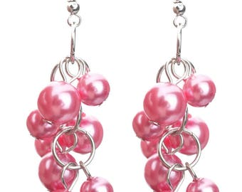 Pink Pearl cascade earrings DIY kit + / easy to make 6 cm