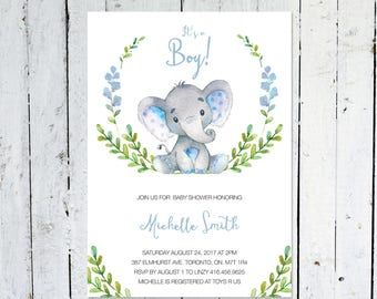 Baby Shower Invitation Boy, Elephant Baby Shower Invitation, It's A Boy, Wreath, Greenery, Blue, Grey, Printable, Printed