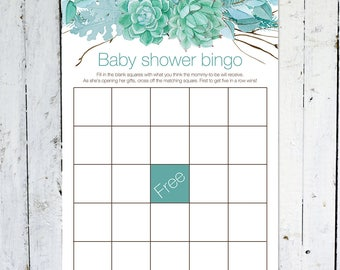 Baby Shower Bingo, Floral Baby Shower Bingo Card, Rustic Baby Shower Bingo, Boy, Fall, Turquoise, Branches, Instant Download