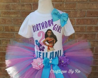 Hawaiian Tutu Set - Moana Costume -  Birthday Outfit - Birthday Tutu - Shirt -  Moana Birthday Outfit -  Moana Birthday Shirt - Moana Dress