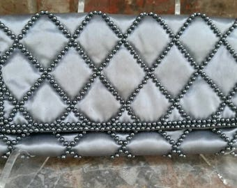 Vintage Gray Satin Beaded Clutch Evening Bag Exceptional Condition