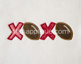 XOXO Football Applique Design