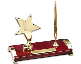 Personalized Rosewood and Gold Personalized Star Pen Stand - Laser Engraved Star Employee Pen Stand and Plaque -  Recognition Award