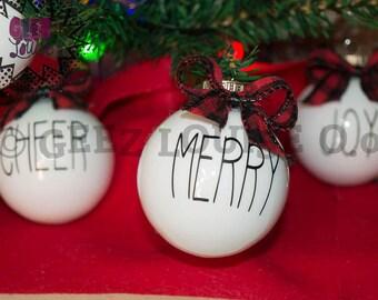 Rae Dunn Inspired Glass Ornament Handmade Christmas Holidays Xmas Festive Decor Tree Buffalo plaid bow
