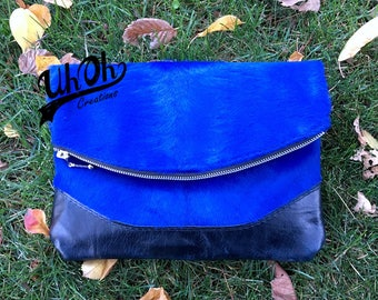 Leather Foldover Clutch in Blue