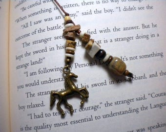 Beaded book thong / bookmark for the horse enthusiast - pay it forward, PIF